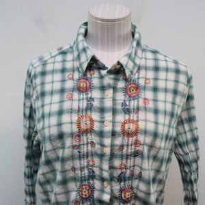 J3 Workshop Johnny Was Small Top Plaid Embroidered